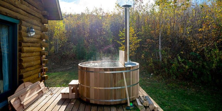 Round Wood-Frame Wood-Fired Hot Tub