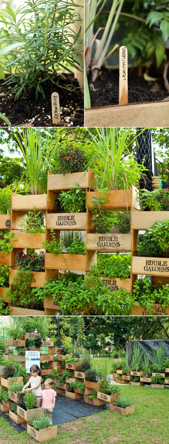 Wooden Crate Planter Tower Wall