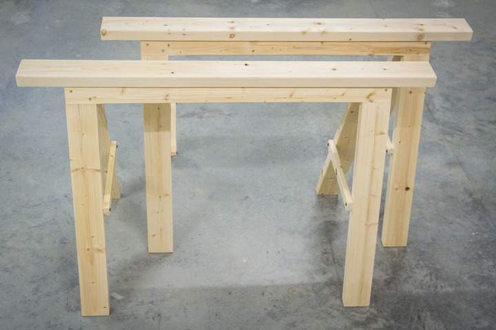 Pair of Sturdy Folding Sawhorse Plans