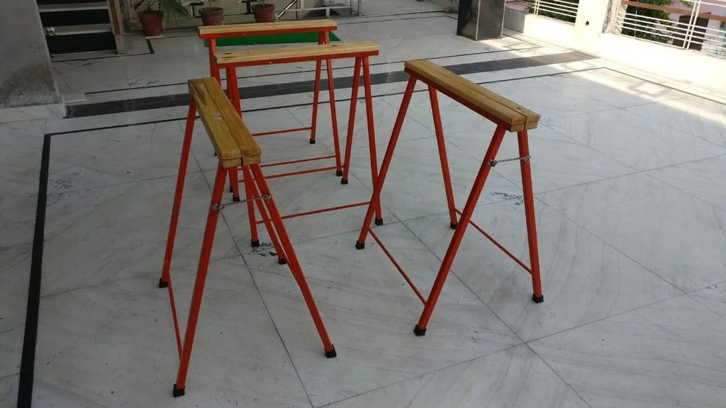 Scrap Metal and Wood Sawhorses