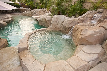 Custom Stone Pool Hot Tub